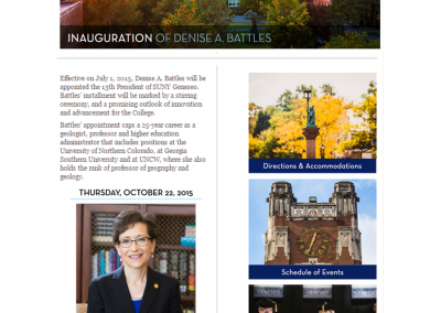 SUNY Geneseo, Inauguration of Denise A. Battles Web Design