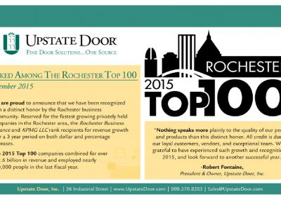 Upstate Door, Inc. Rochester Top 100 Announcement