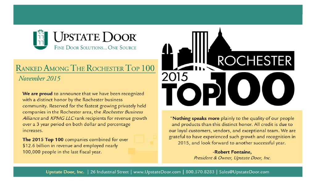 Upstate Door, Inc. Rochester Top 100 Announcement