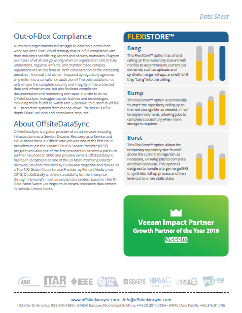 OffsiteDataSync, Inc. Veeam v9.5 Datasheet
