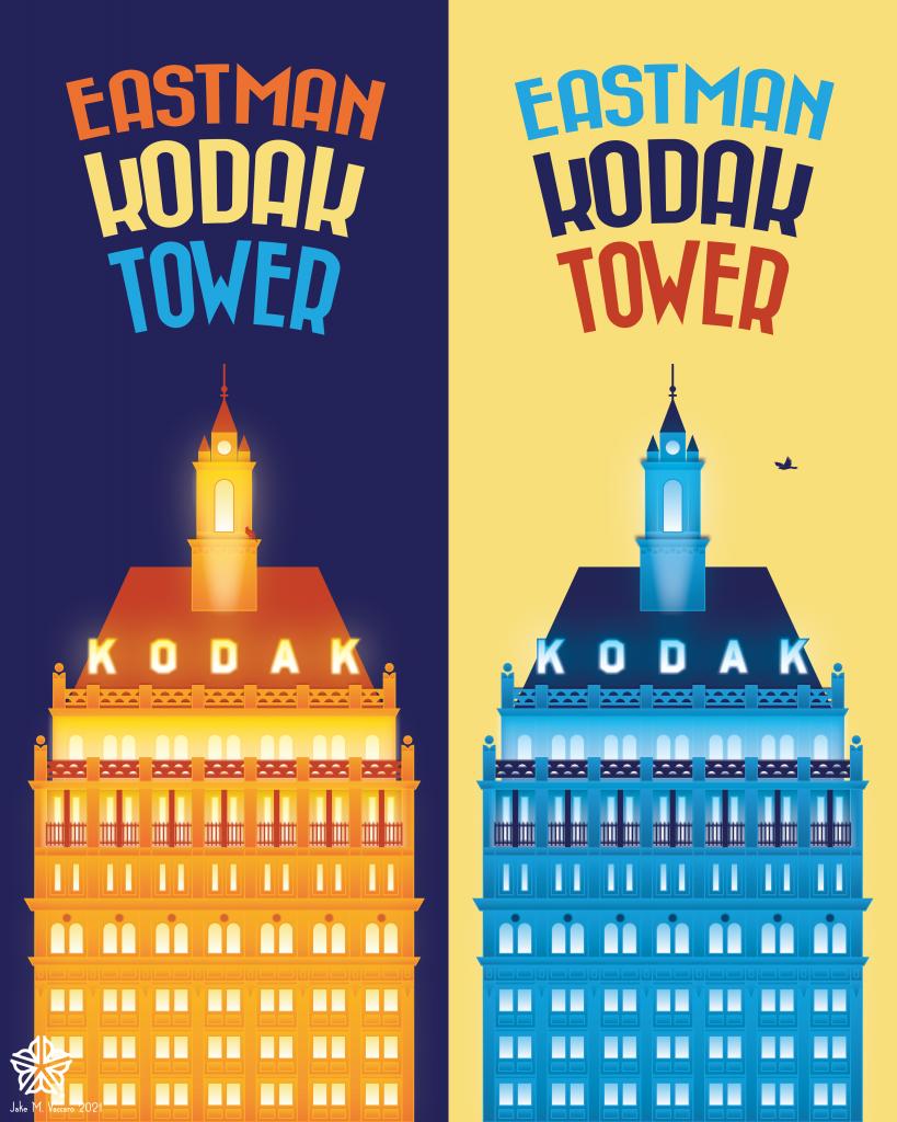 rochester ny rochester skyline kodak tower eastman kodak poster